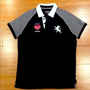 Express Pique Polo w/ Embroidered Logo + Patchwork